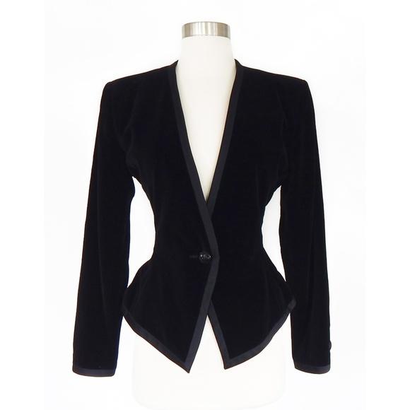 14e0c663d04 Yves Saint Laurent Jackets & Coats | Ysl Black Vintage Velvet ...